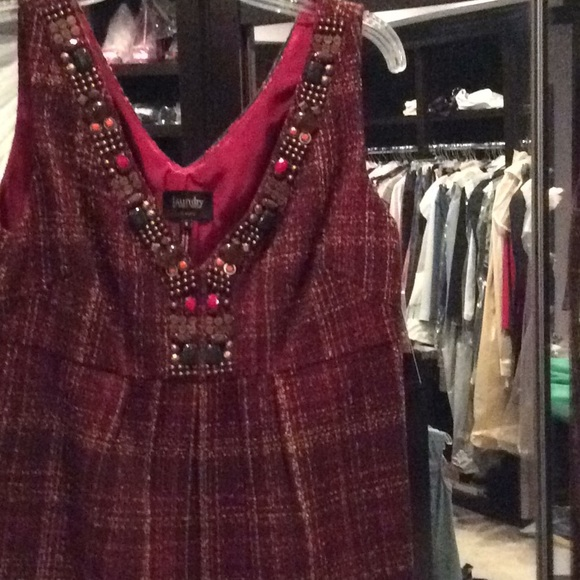 Laundry By Shelli Segal Dresses & Skirts - Brown and red sleeveless dress, jewels, laundry, 8